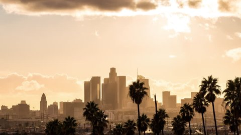 Downtown Los Angeles Golden Hour Light With Clouds and Palm Trees