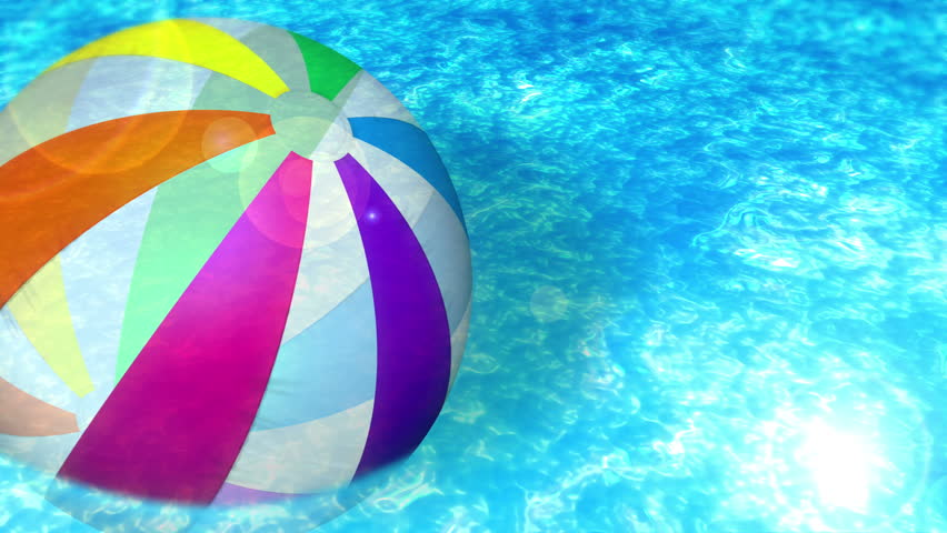 Pool Water With Beach Ball floating beach ball in water pool stock footage video 4366925