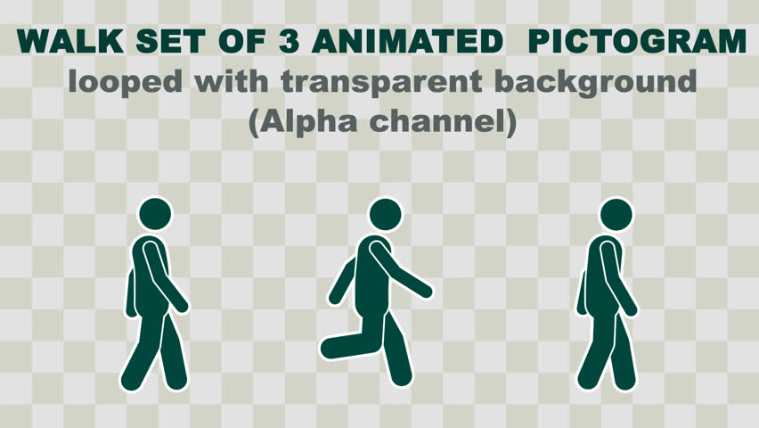 Walk set  of 3 Stick figure animation with Alpha. Pictogram pack