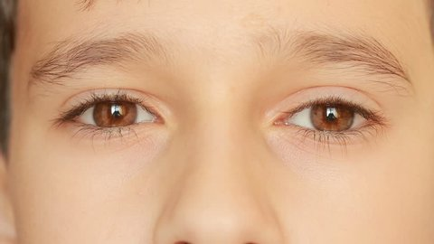 little child's eyes, innocence, eyeballs, front view. close-up, a nervous tic