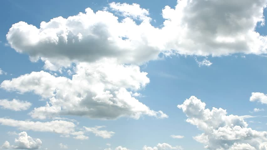 White Clouds & Blue Sky, Flight over clouds, loop-able, cloudscape, day, Full HD, 1920x1080. FHD.