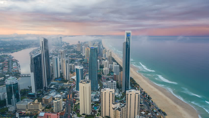 4k timelapse video of Gold Coast, Australia from day to night | Shutterstock HD Video #23527954
