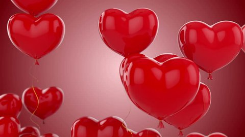 Floating red hearts on red background animation for Valentine's day