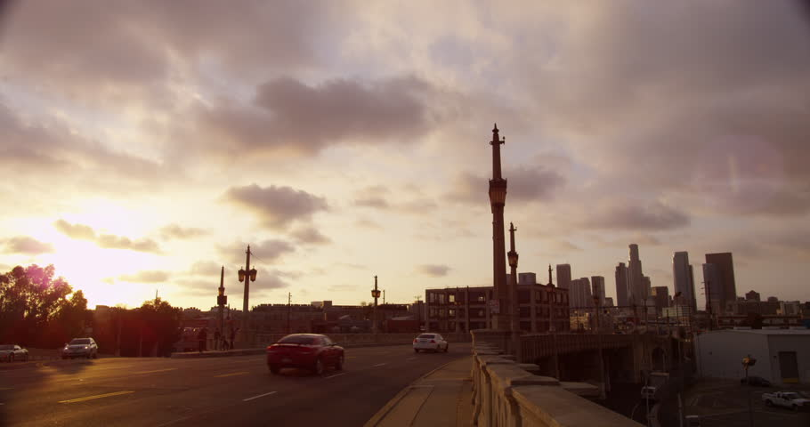 Downtown Los Angeles with dramatic clouds. | Shutterstock HD Video #23552578