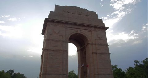 Time lapse of India Gate in New Delhi, India.