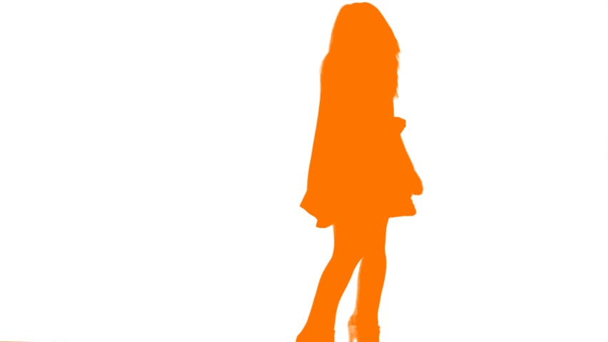 A Silhouette of a Dancing Girl flashes many different colors as she moves around the screen.