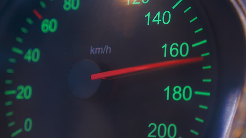 Car speedometer needle is rapidly approaching to the maximum value 200 km/h. Vehicle vibration adds adrenaline and increases the feeling of a strong acceleration | Shutterstock HD Video #23602384
