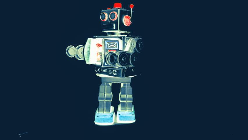 retro robot moves forward