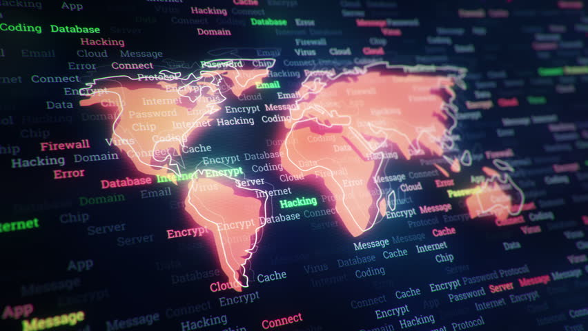 Technological background with changing words about technologies, social nets, business and money, communication and social marketing. Symbol of earth globe with glowing glass surface. Seamless loop. | Shutterstock HD Video #23604784