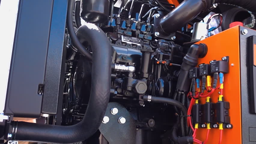 High-power mobile diesel generator on the basis of internal combustion engine. Shot in motion