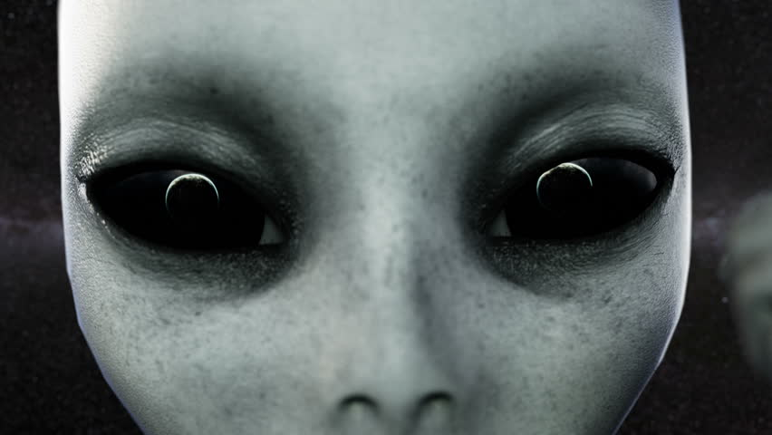 Alien open eyes. Planet Earth is reflected in the eyes . UFO futuristic concept. Cinematic 4k animation.