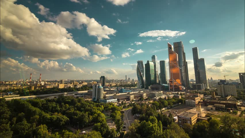 Sunny summer day moscow world trade center Moscow city skyscrapers sunset panorama 4k time lapse russia | Shutterstock HD Video #23646496