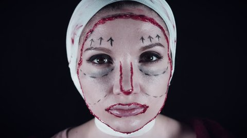 4K Plastic Surgery Victim Woman Checking her Results