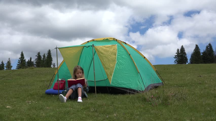 4K Child Reading by Tent in Mountains Tourist Girl Relaxing Outdoor at C&ing - 4K & 4K Child Reading Book By Tent In Mountains School Girl Studying ...