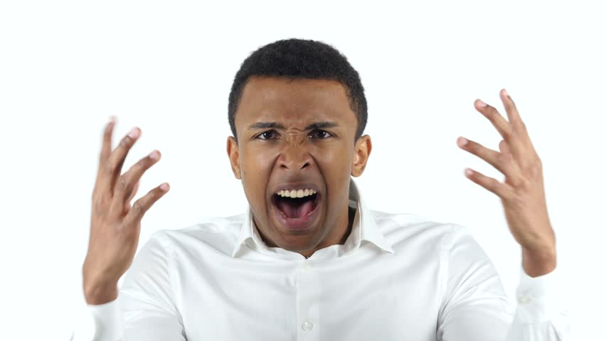 Screaming Black Woman, White Background Stock Footage ...