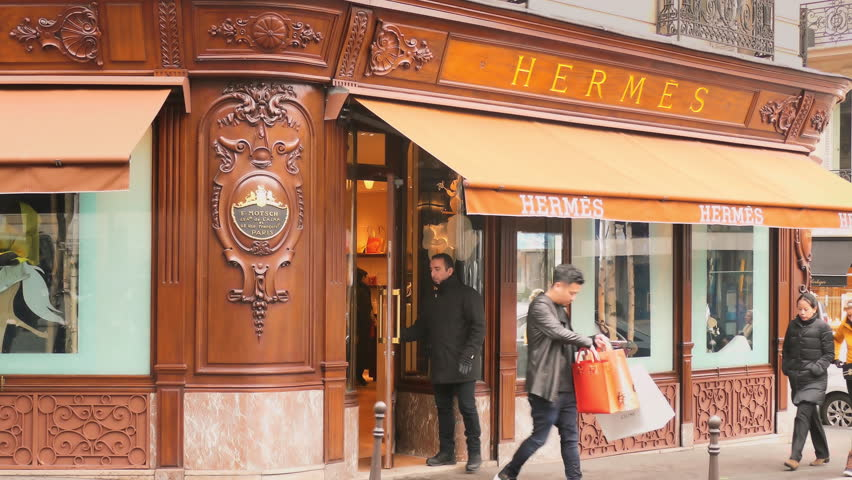 PARIS - JAN 24 , 2017: Hermes boutique luxury fashion store open for business on January 24, 2017. Hermes of Paris is a French high fashion upscale goods manufacturer established in 1837.