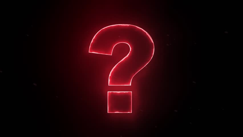 Stock Video Clip Of Red Glowing Question Mark On Black