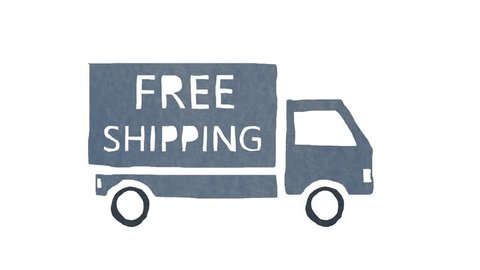 Stop motion animation of a FREE SHIPPING truck coming into the frame and stopping and then leaves the frame. Cartoon looking truck on pure white background.