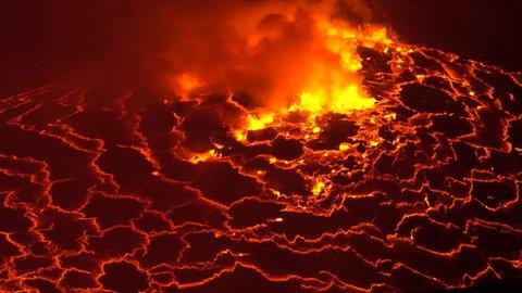 Lava Lake, Nyiragongo, Stratovolcano, Africa, Erupting Vulcano