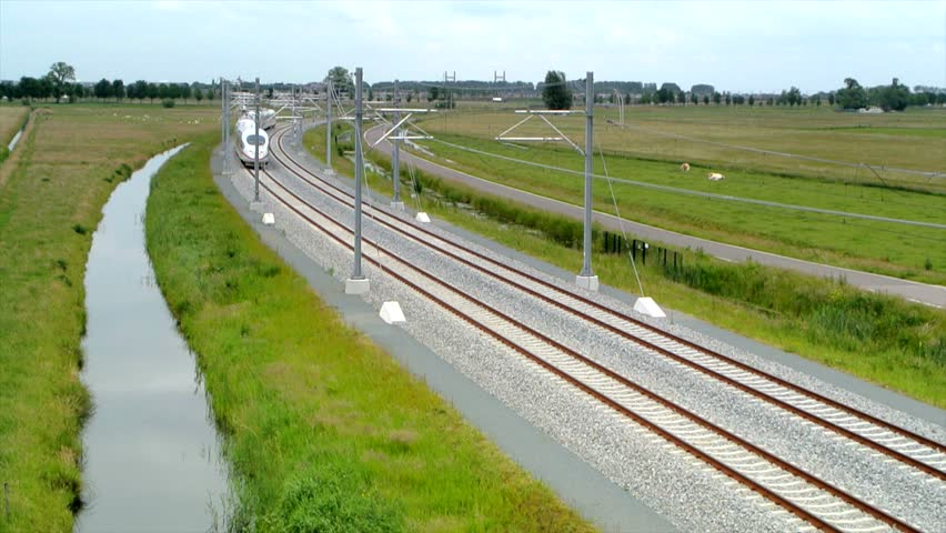 ICE train (Intercity-Express) doing test runs on the new Hanzelijn railroad track near Kampen, The Netherlands.