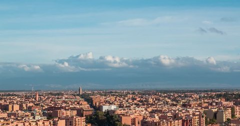 Beautiful Marrakesh timelapse aerial panoramic view at evening, Morocco