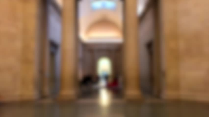 Art Gallery Hall Indoor Interior People Tourists Blurred Abstract Background