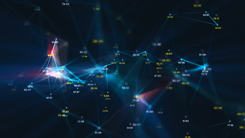 Digital Data Points Network Loop 1A: dark background, rotating flickering mesh cloud of connections with blue lines, random percentage number values in blue and yellow. 4K UHD, FullHD, seamless loop.