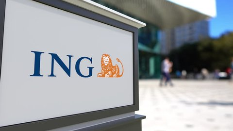 Street signage board with ING Group logo. Blurred office center and walking people background. Editorial 3D rendering 4K