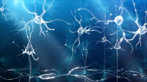 Conceptual animation showing neuronal activity in the human brain.