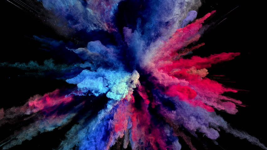 Cg animation of powder explosion with blue, red and violet colors on black background. Slow motion movement with acceleration in the beginning. Has alpha matte. #23786794