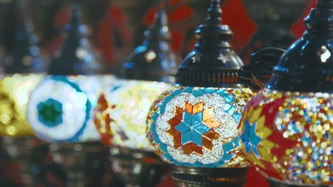 Close-up of flasks hookahs. Hand painted hookah bulb. Hookah, shisha. The traditions of the East - Egypt and the Emirates (UAE). Local Flavor. Oriental patterns and ornaments