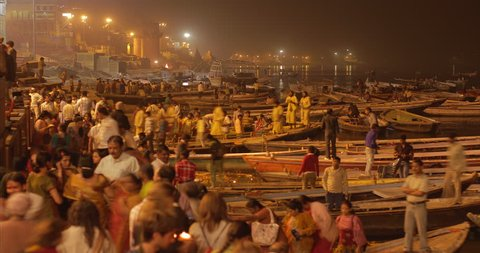 Varanasi, Uttar Pradesh/India - March 9, 2011: Time lapse of Ganga Aarti Puja in Varanasi, India.