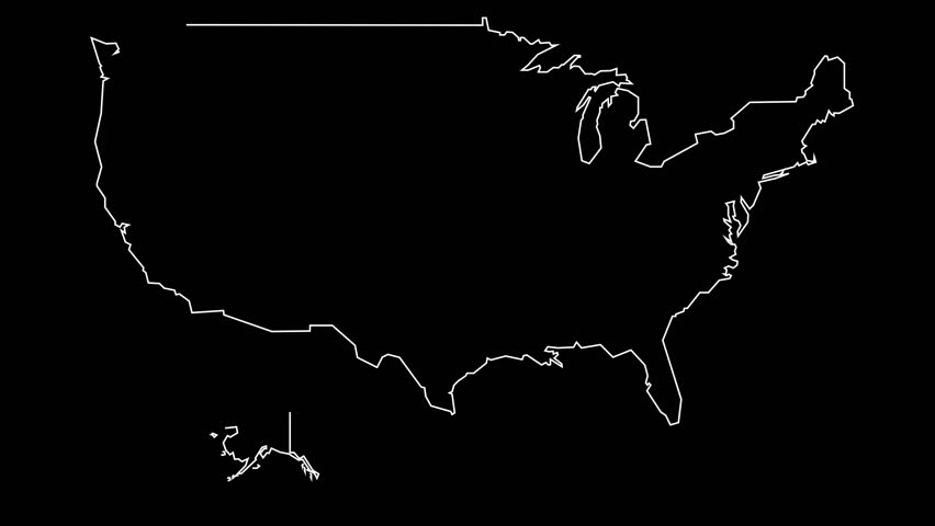 Numbers And Symbols Form The United States Of America USA - 4k us map