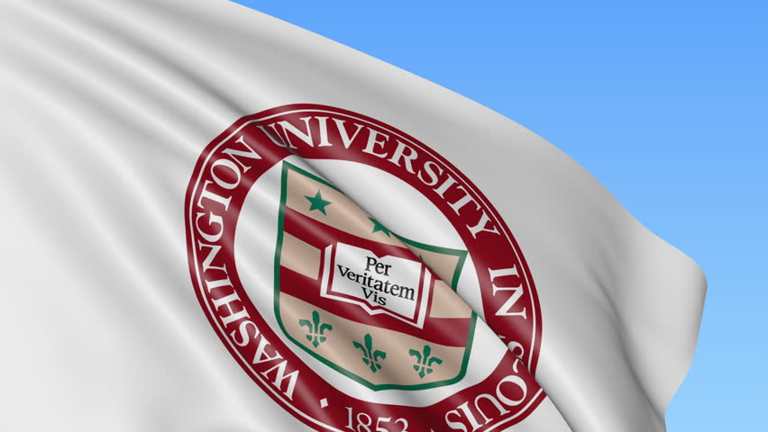 Close-up of waving flag with Washington University emblem, seamless loop, blue background. Editorial animation. 4K | Shutterstock HD Video #23836477