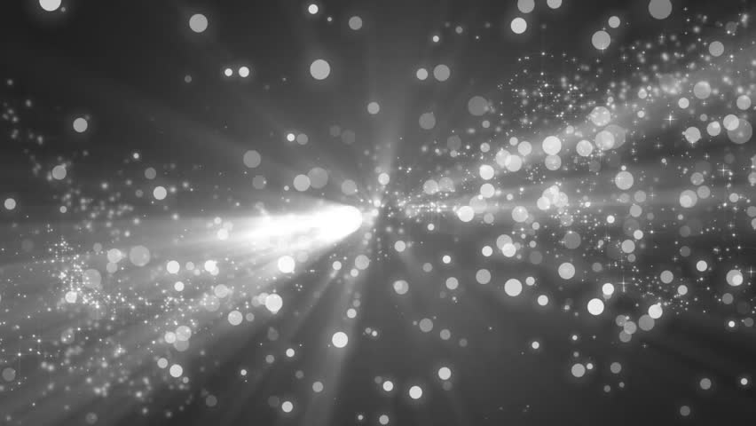 Abstract silver motion particles. Animation grey background with rays and sparkles stars on black background. VJ Seamless loop.