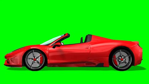 Red convertible fast sports car drive animation - green screen