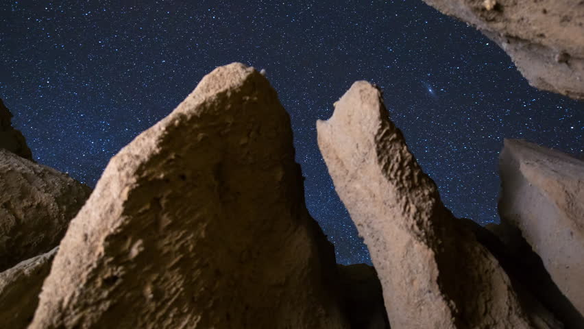 Motion controlled astrophotography timelapse with dolly tracking motion of starry sky through eroded sandstone canyon formation at Red Rock Canyon State Park in Mojave Desert, California -Long Crop-