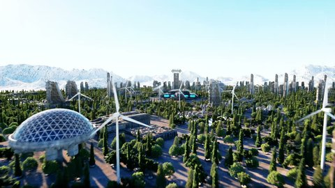spaceship in a futuristic city, town. The concept of the future. Aerial view. Super realistic 4k animation.