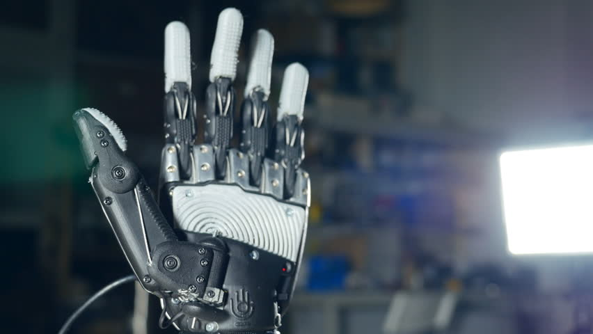 Futuristic robotic cyborg arm in action. Real robotic prosthesis. #23883124
