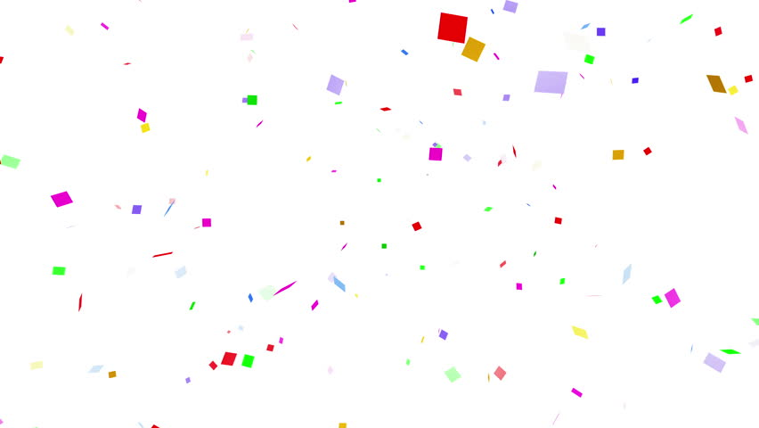 Colorful confetti particles. square.