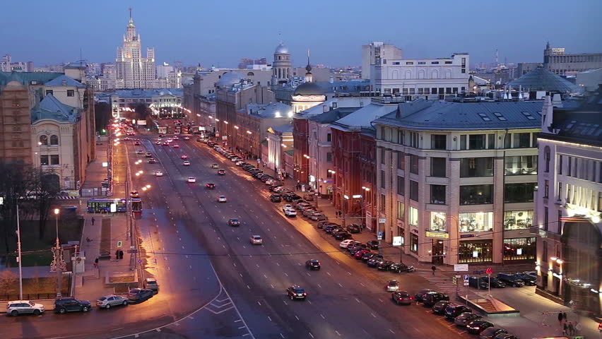 Night view of the Moscow from a high point (an observation deck on the building of the Central Children's Store), Russia  -- opened in April 2015 after extensive reconstruction   #23910331