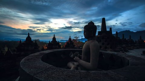 Time lapse Sun rise at Borobudur Buddha Statue in Indonesia
