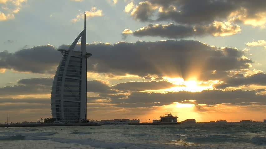 Dubai - Circa 2012. The Burj al Arab Hotel in 2012. The Burj al Arab Hotel at sundown in Dubai, United Arab Emirates.