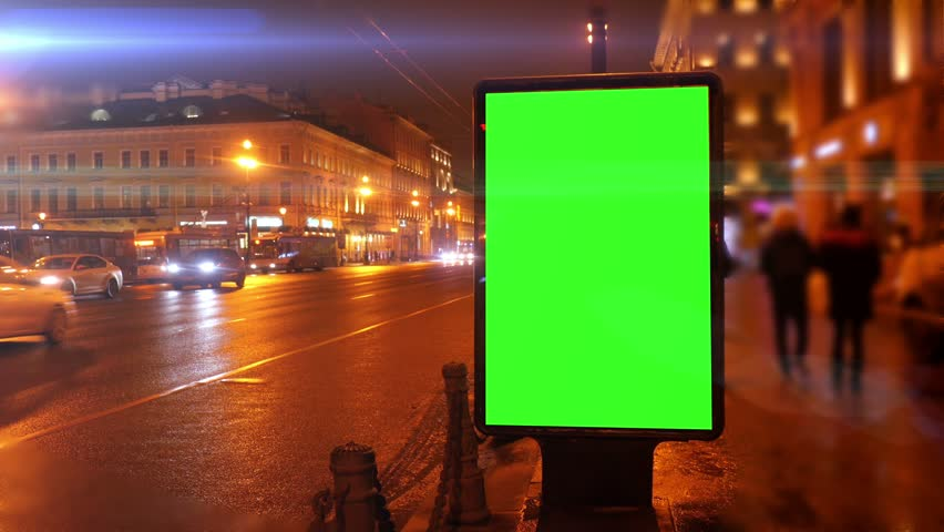 A Billboard with a Green Screen on a Streets | Shutterstock HD Video #23935279