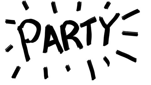 Handmade PARTY word doodle animation. Pure white background.