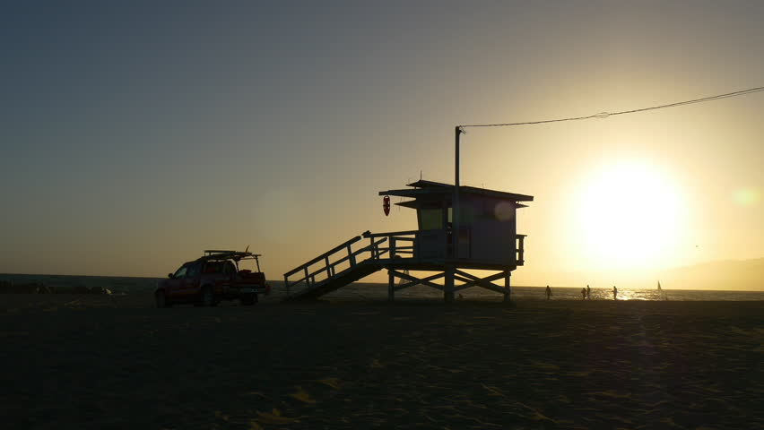 Sunset time los angeles veniece beach lifeguard tower 4k usa | Shutterstock HD Video #23941474