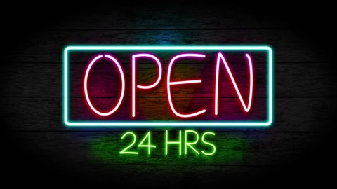Neon Open 24 hours sign turning on and blinking on grunge wall, Stores, shops and restaurants sign loop full hd and 4k. 24 hours sign concept