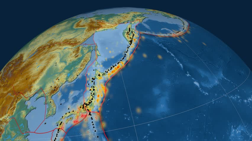 Okhotsk tectonics featured. Relief. Plate extruded and animated against the globe. Tectonic plates borders (newest division), earthquakes by strength & volcanic cones | Shutterstock HD Video #23960557