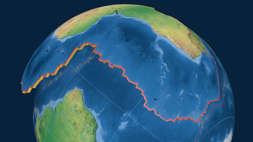 Africa tectonics featured. Natural Earth. Plate extruded and animated against the globe. Tectonic plates borders (newest division), earthquakes by strength & volcanic cones | Shutterstock HD Video #23961514