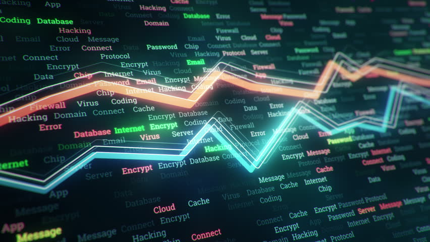 Technological background with growth of charts and graphs on binnary code backdrop. Symbols of business or finance with glowing glass surface. Seamless loop. | Shutterstock HD Video #23970259